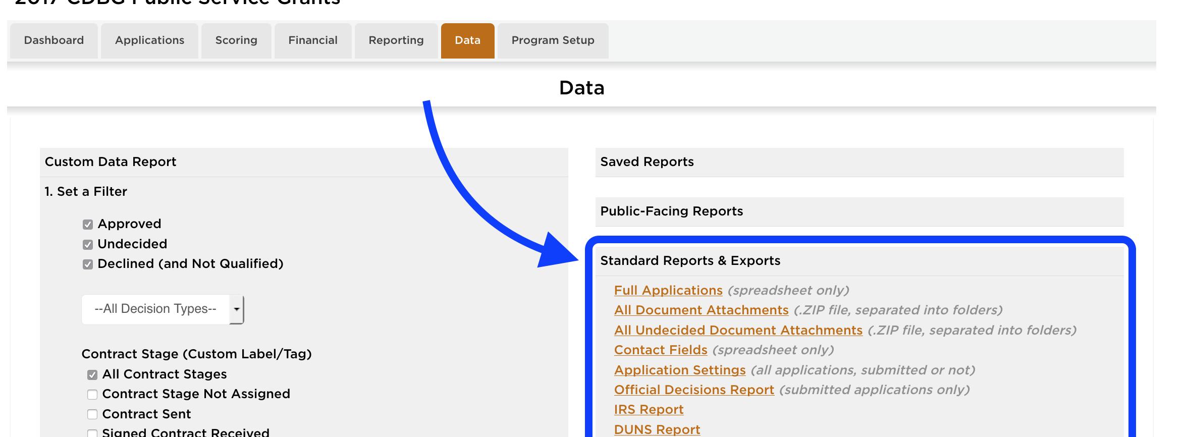 Data Tab: Standard Reports & Exports