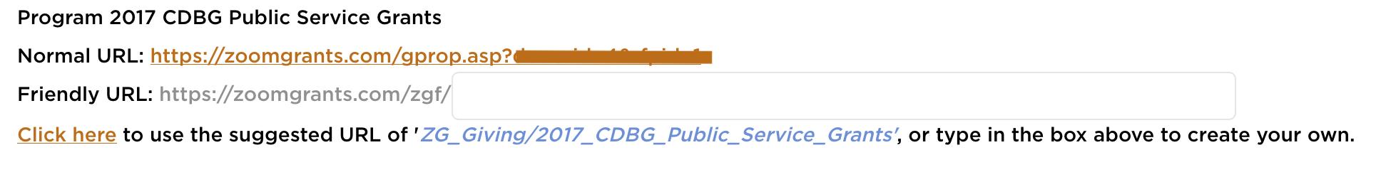 RFP/Program Friendly URL