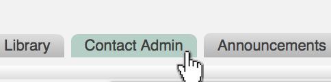 Contact Admin Tab