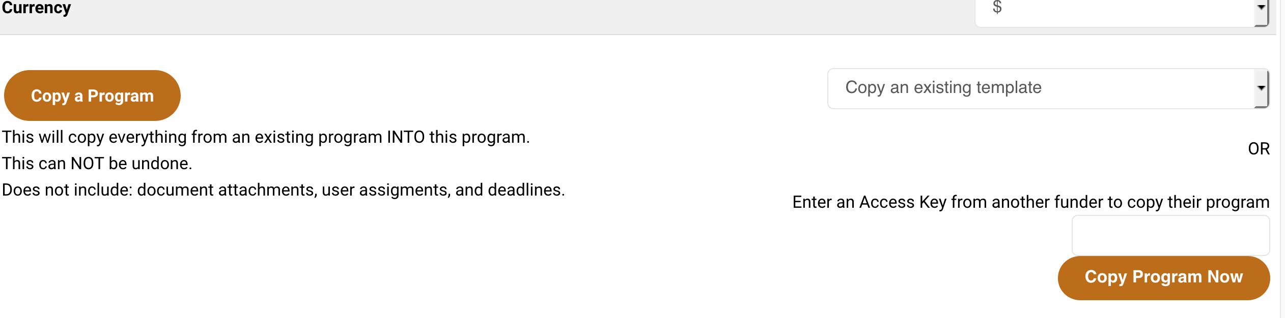 Copy Program Button